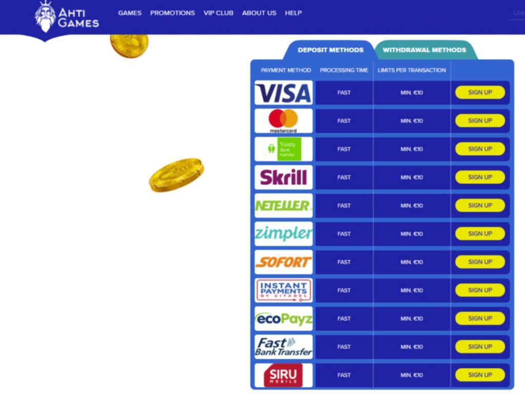 AHTI Casino payment methods