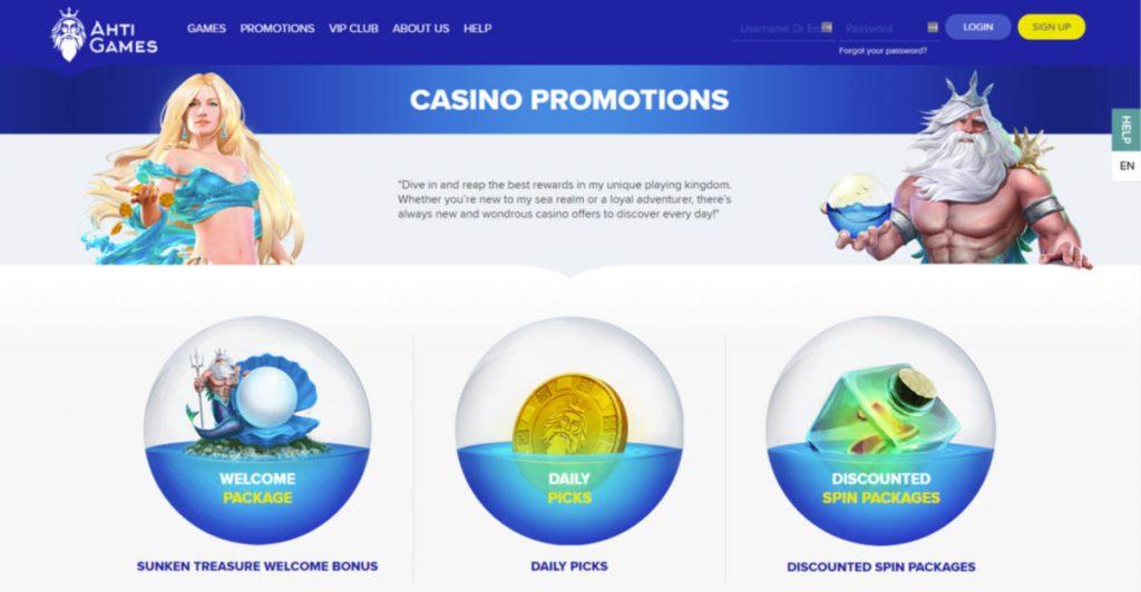 AHTI Casino bonus and promotions