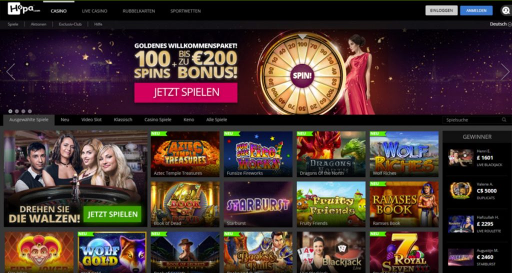 Hopa Casino and Bookmaker login