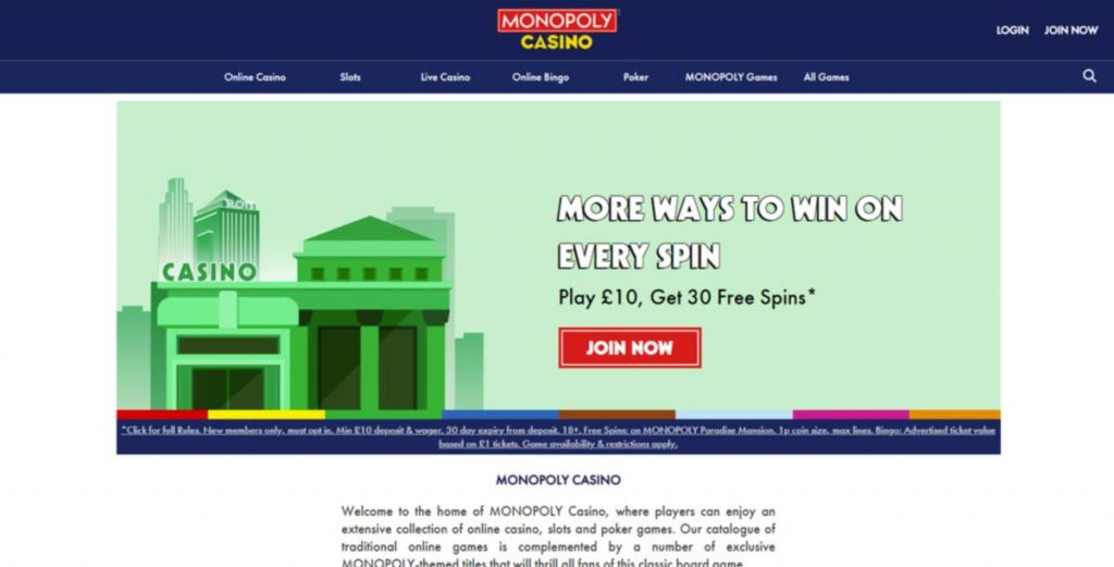 Monopoly casino login page