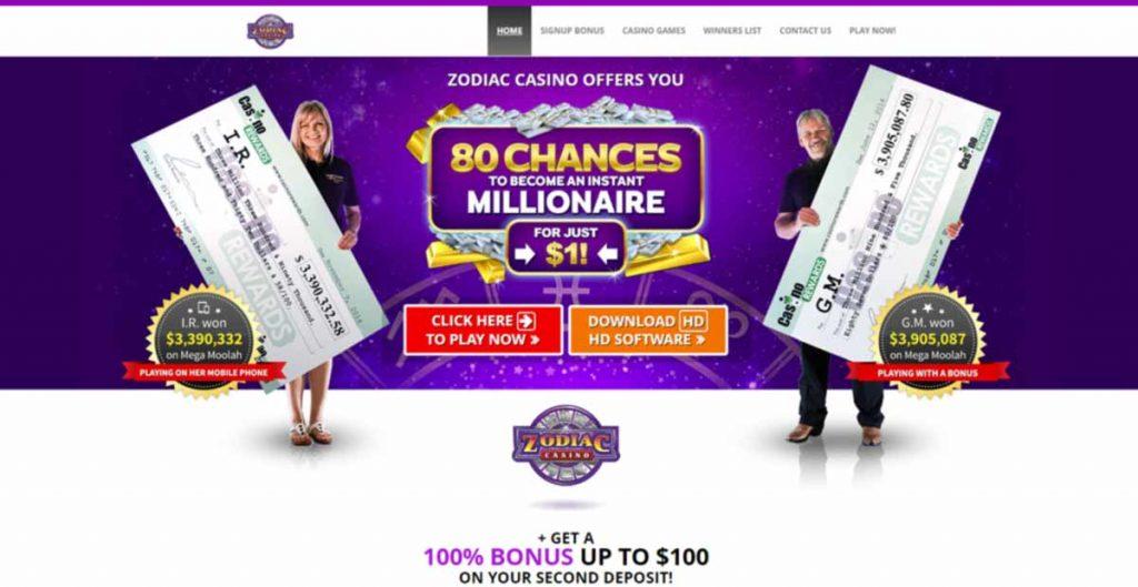 Zodiac Casino 100% bonus