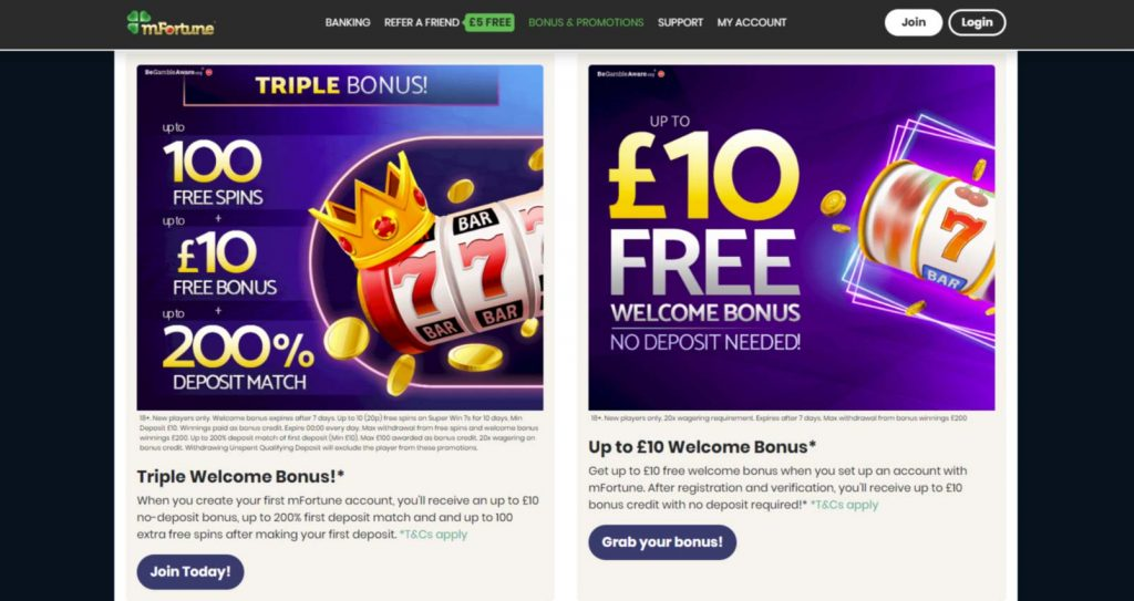 mFortune casino bonus