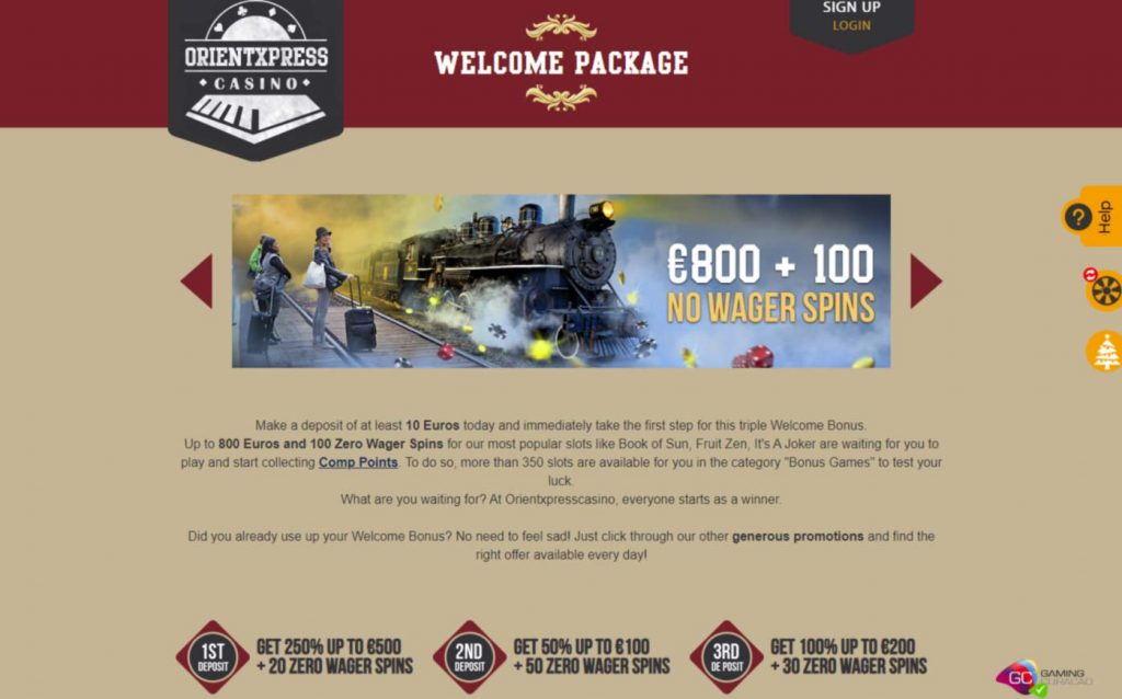 Orient Express Casino Welcome bonus and up to 100 no wager free spins
