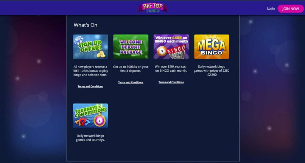 Big Top Casino no deposit bonus
