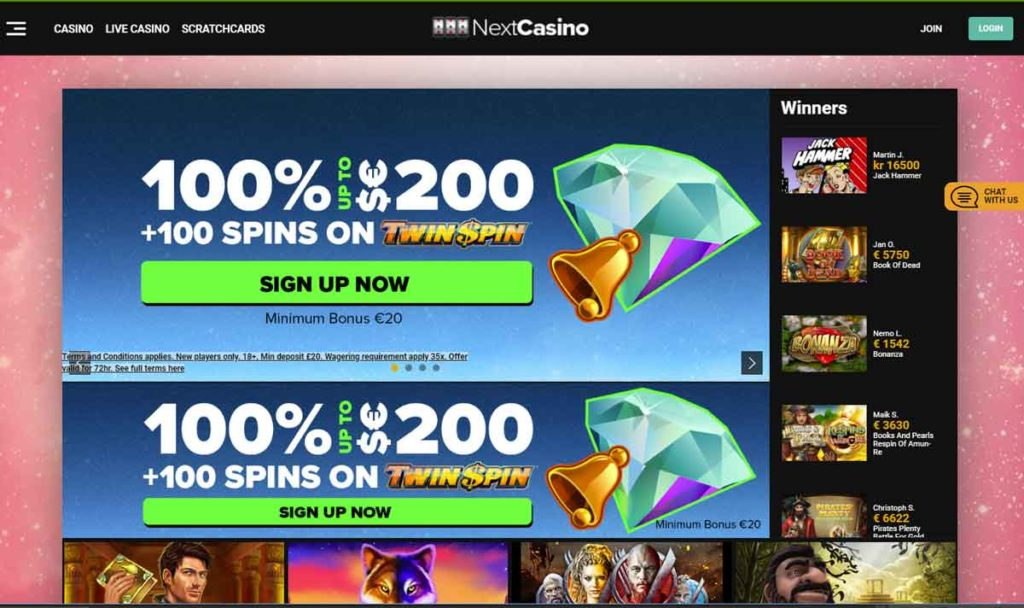 Next Casino login