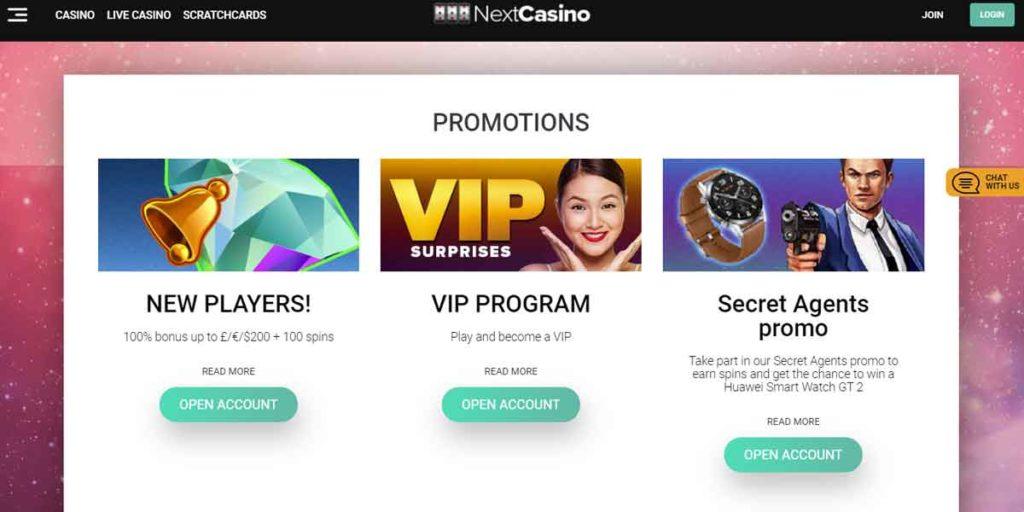 Next Casino bonus and offers