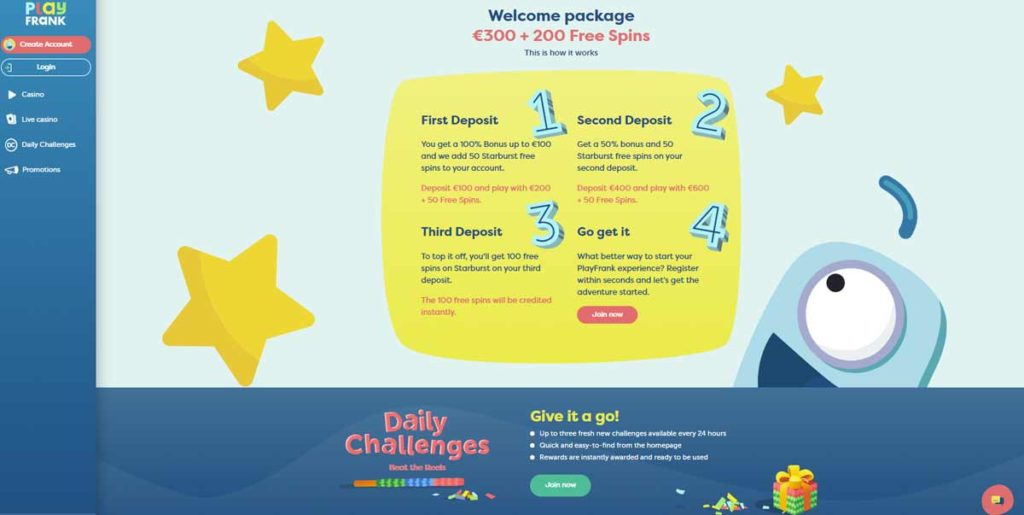 PlayFrank Casino welcome package