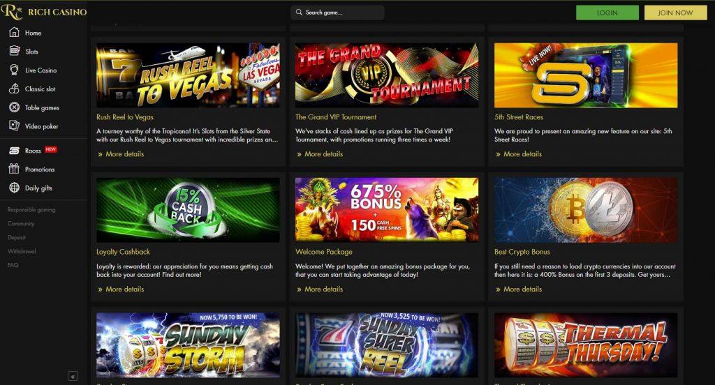 Rich Casino bonus and promotions