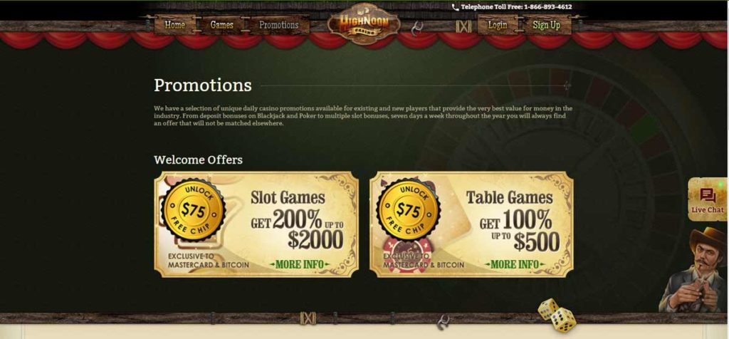 High Noon Casino welcome bonus