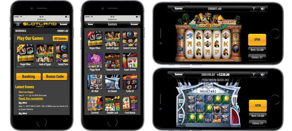 Slotland mobile app