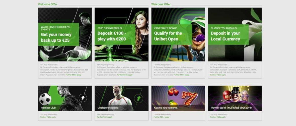 Unibet bonuses, offers and promotions