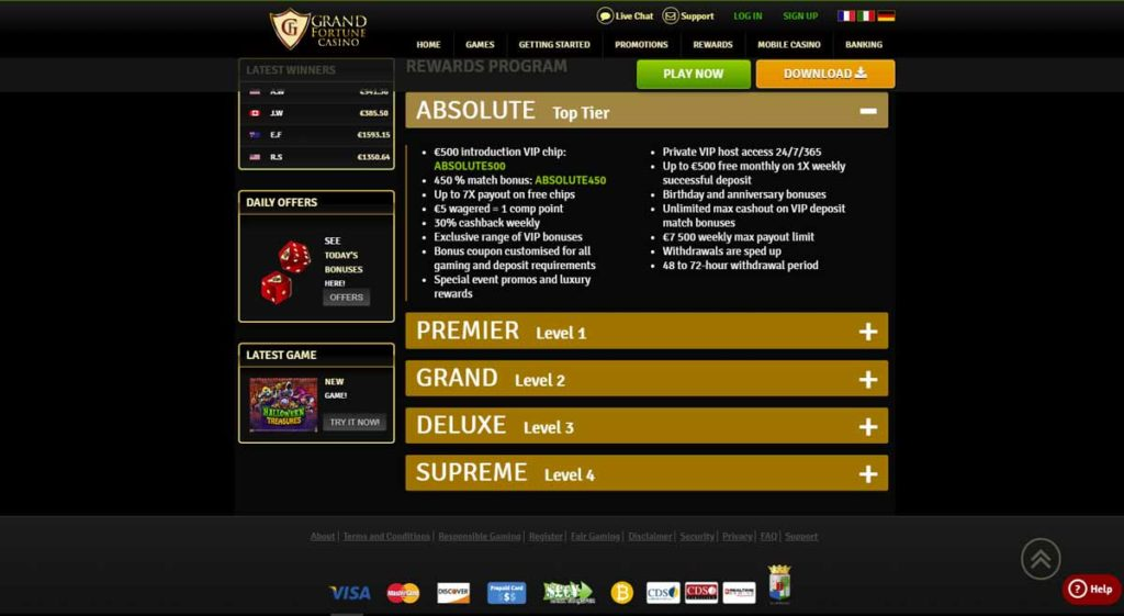 Grand Fortune Casino  VIP and loyalty program