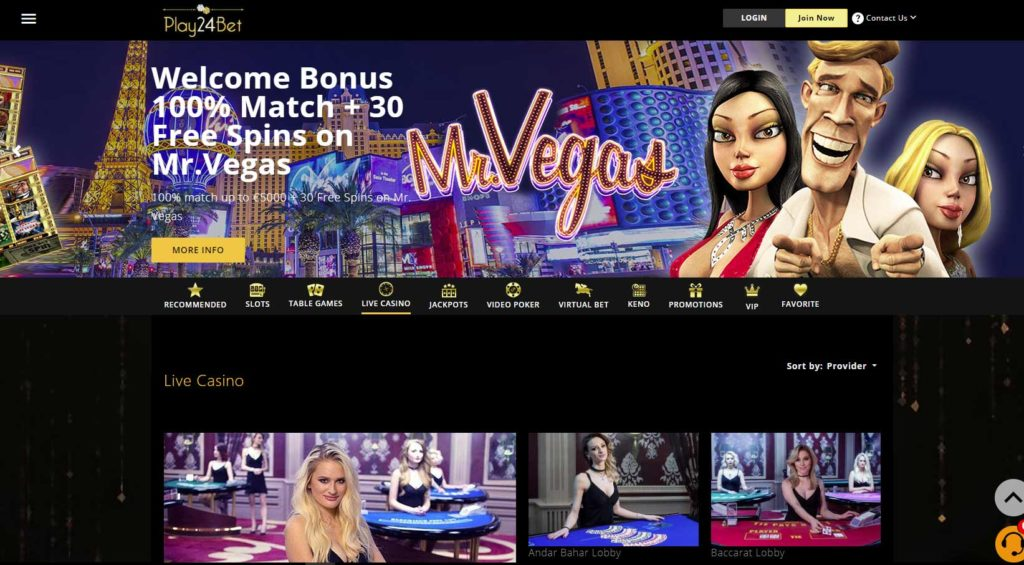 Register and play Baccarat with live dealers