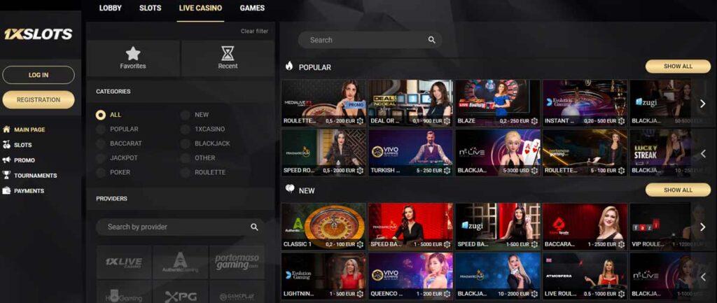1xSlots live casino - 1x slot casino