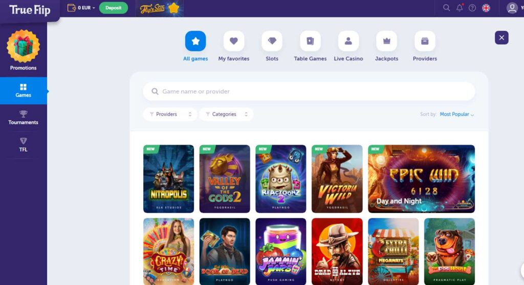 TrueFlip casino games