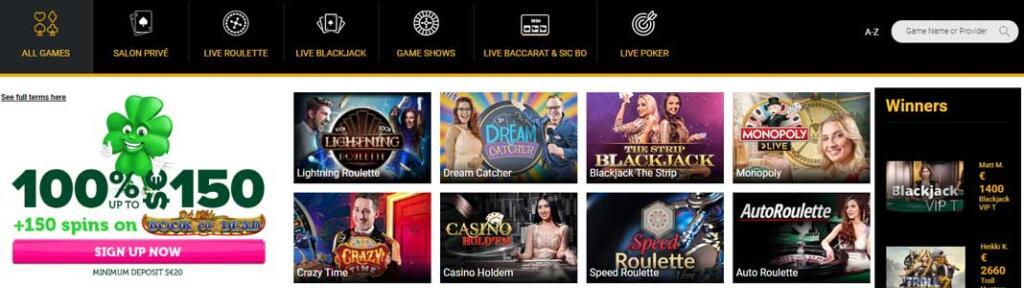 Casino Luck live dealer games