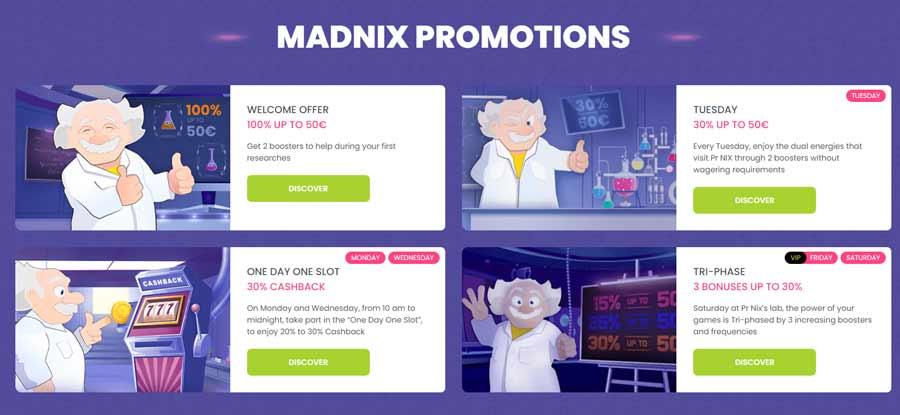 Madnix Casino bonuses