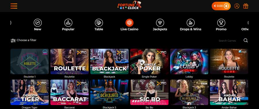 Fortune Clock live casino and live dealer tables