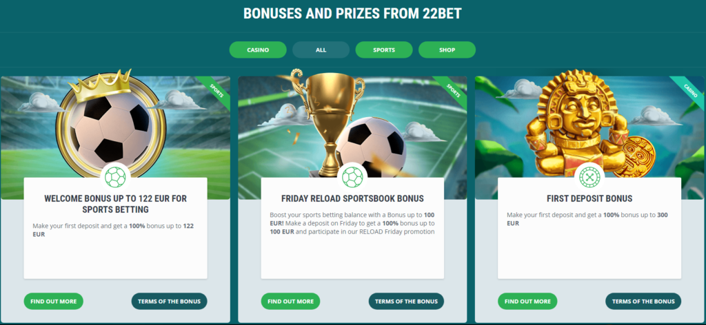 22Bet bonus offers and promotions