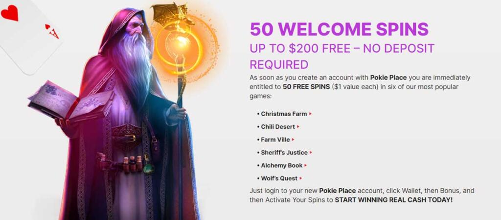 Pokie Place 50 no deposit free spins