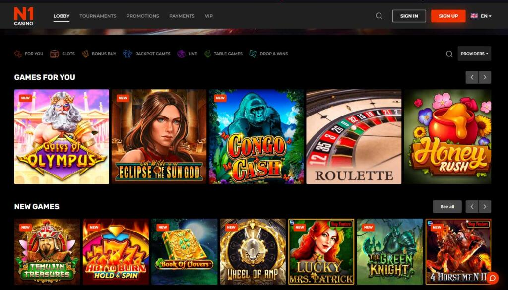 N1 online casino slots and games