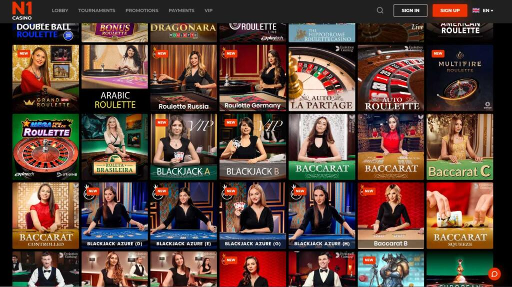 N1 live casino games