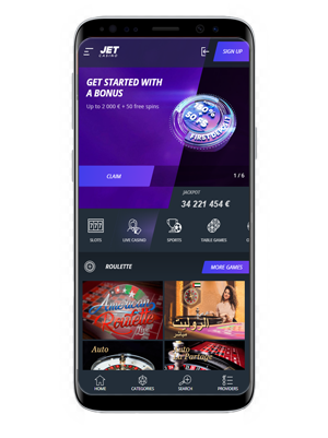 Jet mobile casino and sports betting app