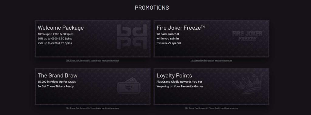 PlayGrand promotions and casino offers