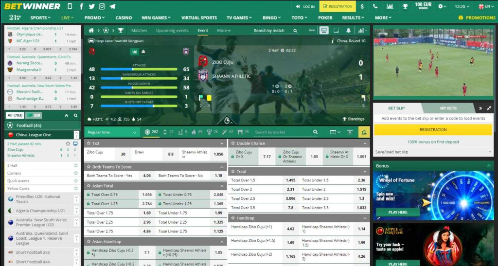 Betwinner live streaming and betting