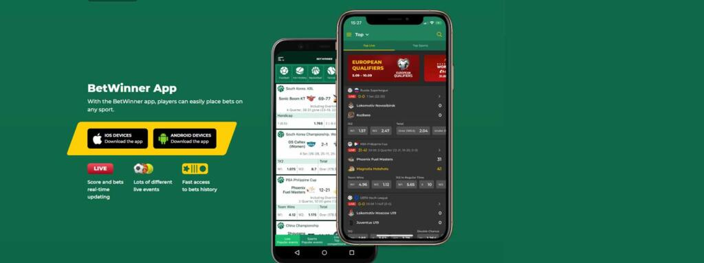 Betwinner mobile app for Android and iOS